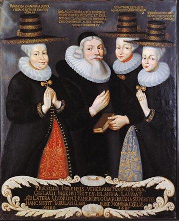 Ragnheiður Jónsdóttir og Gísli Þorláksson Hólabiskup (1657-1684) ásamt tveimur fyrri konum Gísla, Gróu Þorleifsdóttur og Ingibjörgu Benediktsdóttur. Myndin er máluð í Kaupmannahöfn 1684.