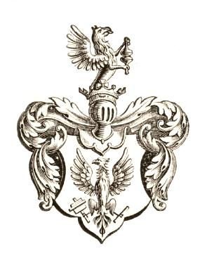 Sagt er að Friðrik III keisari hafi látið teikna þetta skjaldarmerki fyrir prentarastéttina. Hann sat við völd 1440 til 1493. Af þessu merki hafa félagsmerki prentara borið svip allt til þessa dags; nægir þar að benda á merki Hins íslenska prentarafélags.