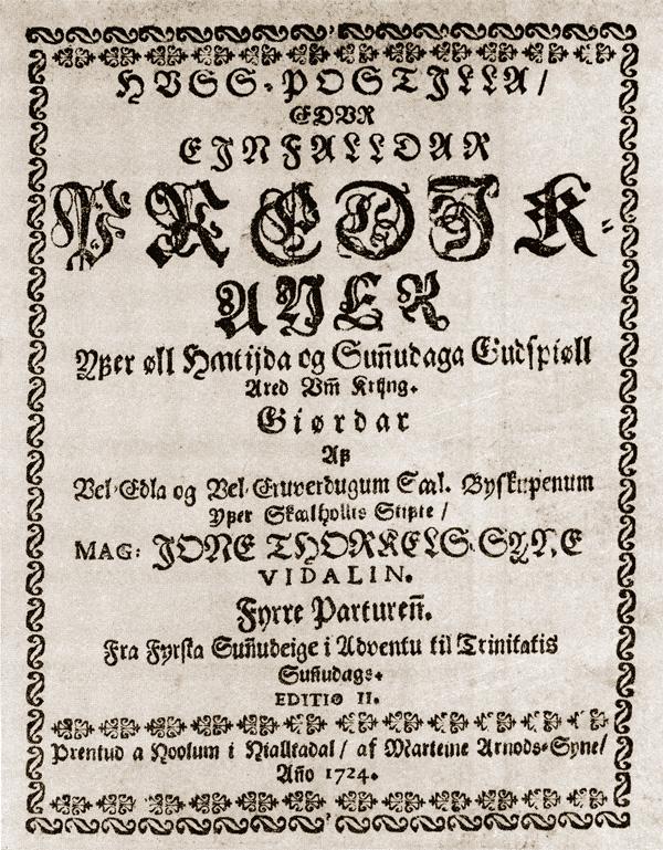 Titilsíða Vídalínspostillu Steins biskups, fyrri hluta, frá árinu 1724.