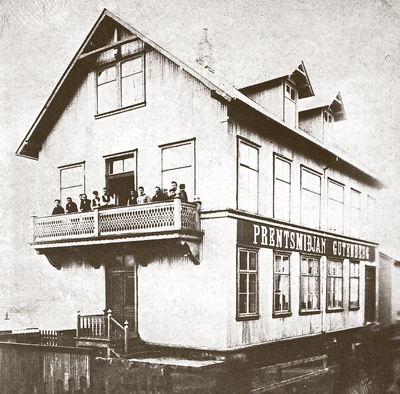 Prentsmiðjan Gutenberg nýbyggð.