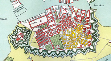 Kaupmannahafnarbruninn 1728. Gult svæði er sá hluti borgarinnar sem varð eldi að bráð. (Kort eftir Joachim Hassing)